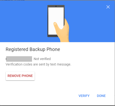 Select phone number verification screen